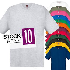 Pacco-10-T-Shirt-Da-Stampare-Lavoro-Stock-Uomo-Maglie-Cotone-Fruit-of-The-Loom