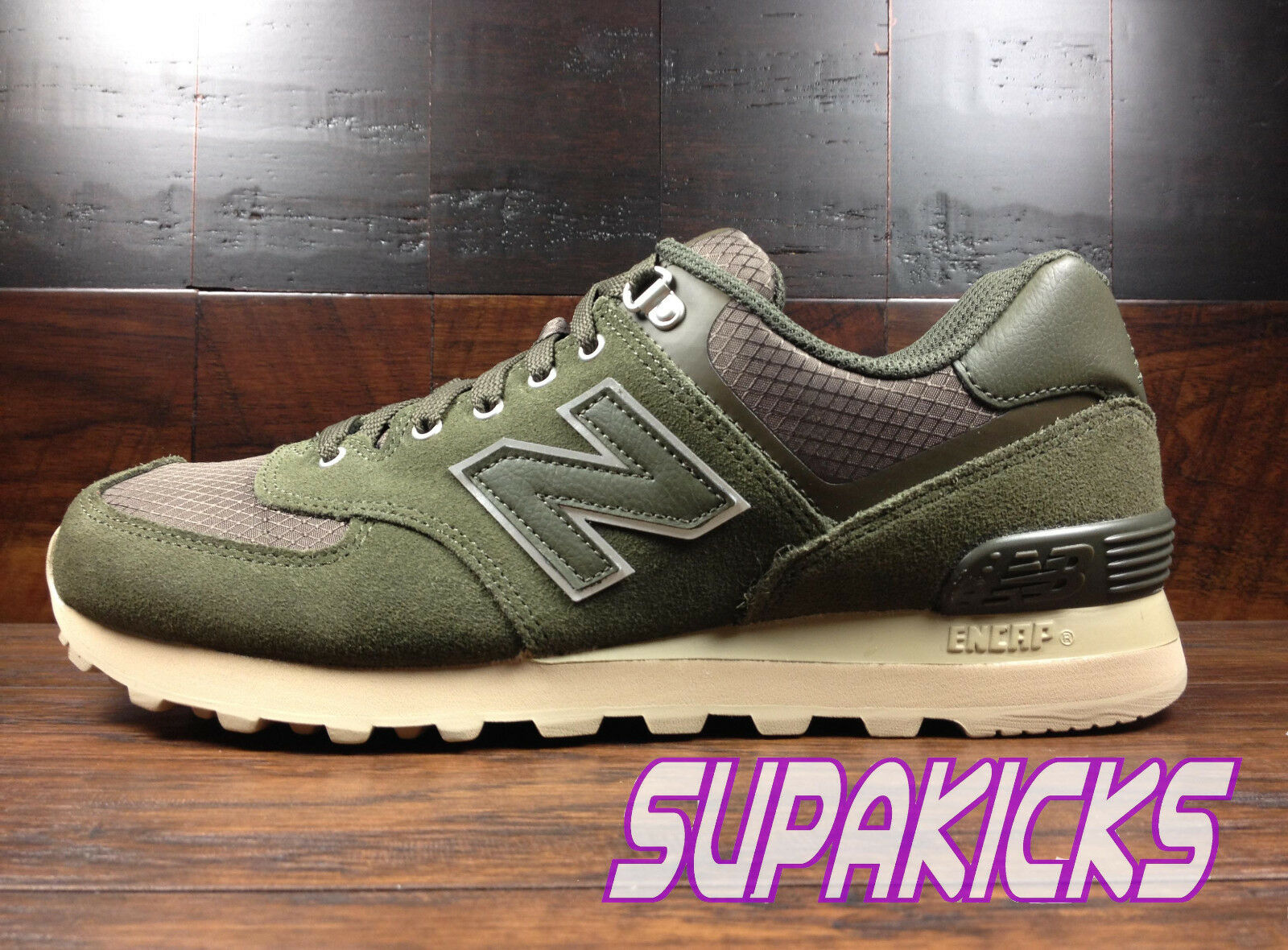 New Balance ML574PKT  Hiker Boot Pack  (Olive Green   Beige) Suede 574 Mens 8-13