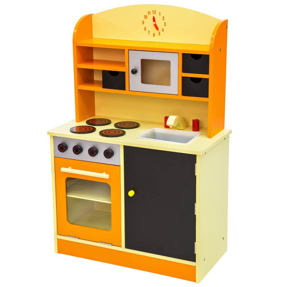 Kinderküche aus Holz Kinderspielküche Spielküche Spielzeugküche Küche Orange