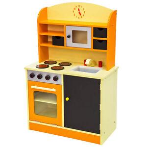 kinderk che aus holz kinderspielk che spielk che spielzeugk che k che orange ebay. Black Bedroom Furniture Sets. Home Design Ideas