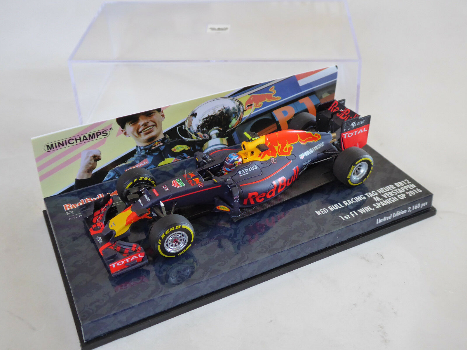 MINICHAMPS 1 43 rouge BULL rb12 Tag Heuer RENAULT Verstappen 1st Win 2016 Espagne