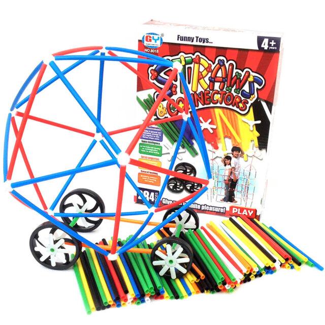 284pcs Plastic Straw Connectors Wheels Model DIY Assembling Building Blocks Toy