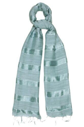 SILVER Silk e lino a righe Sciarpa-FAIR TRADE nuova con etichetta 180 CM x 80 cm