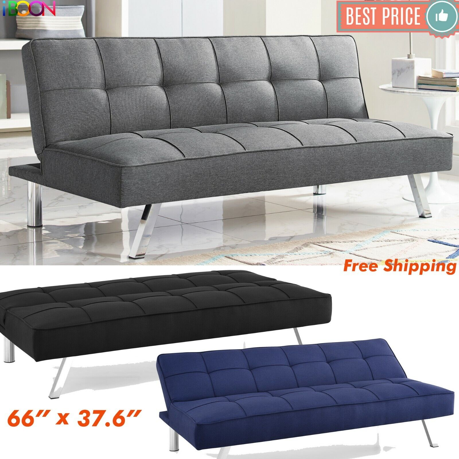 Mainstays Black Metal Arm Futon Sofa Convertible Bed 6 Mattress Couch Sleeper For Sale Online Ebay