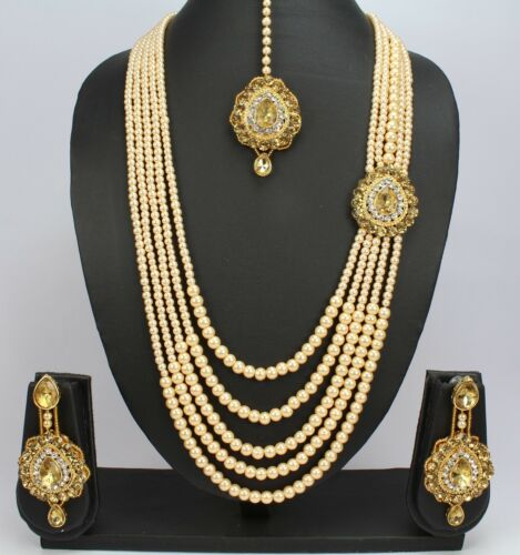 5 Strand Gold Plated Pearl Beads Indian Wedding Long Necklace Set Earring Tikka