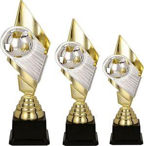 Details Zu Fussball Pokal 3er Serie Medaillen Fussball Pokale 33 30 28 Cm Hoch