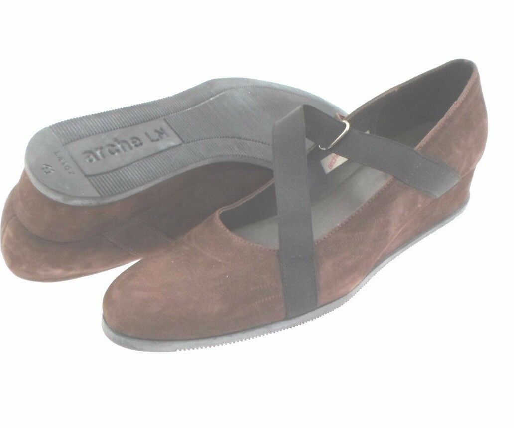ARCHE Brown Suede Upper Mary Jane Wedge Heel Made in France US 10
