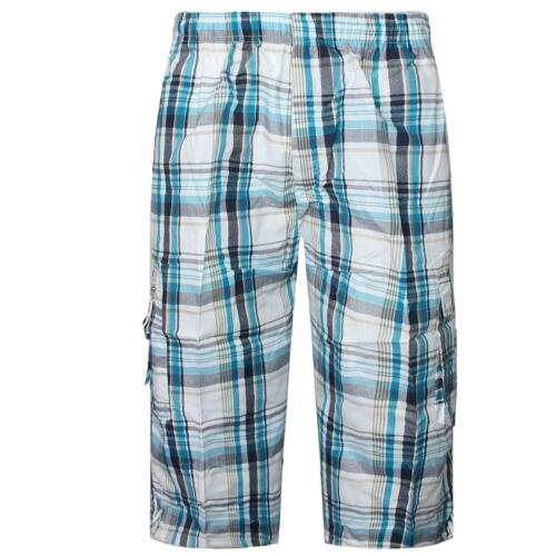 MENS CHECKED SHORTS 3//4 LENGTH CASUAL WEAR PRINTED CARGO COMBAT TROUSERS 30/_-40/_