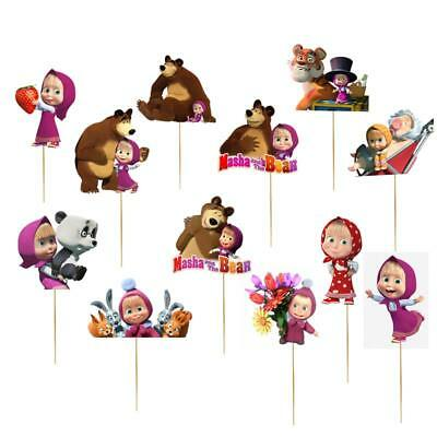 Xl Masha And The Bear Cupcake Cake Topper Party Favors Balloon Freddy Supplies Ebay