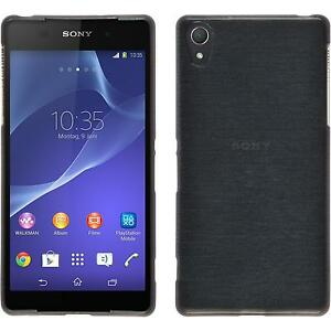 Coque-en-Silicone-Sony-Xperia-Z2-brushed-argente-films-de-protection