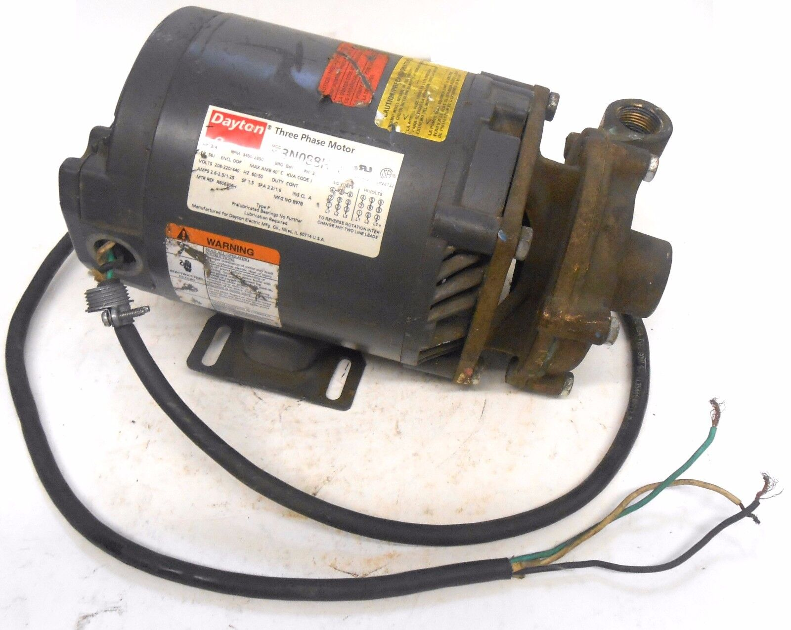 Dayton 3n088h Jet Jump Motor Hp 3 4 Rpm 3450 Ebay Phase Wiring Norton Secured Powered By Verisign