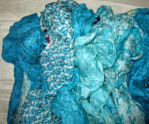 CA LOT PURE SILK Antique Vintage Sari REMNANT Fabrics 100 GRAMS Aqua #ABD9C