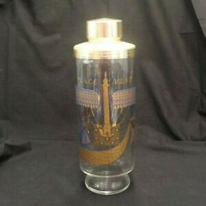 VINTAGE-PLACE-VENDOME-SIGNED-GAY-FAD-COCKTAIL-SHAKER-GOLD-amp-BLUE-ON-CLEAR-GLASS