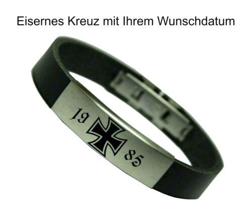 Echt Lederarmband Herren Armband Leder Eisernes Kreuz mit Wunschdatum BW Biker