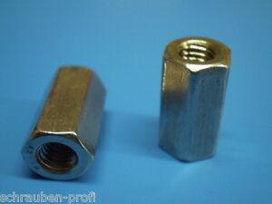 5 Langmuttern Gewindemuffen Verzinkt M8 x 30 DIN 6334