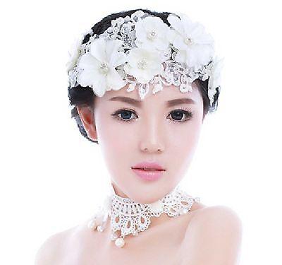 Cream Lace Flower Pearl Bridal Hair Headband Wedding Hair Clip Tiara