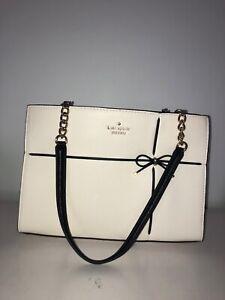 NWT Kate Spade New York Cherry Street Phoebe White Black Leather Shoulder Bag