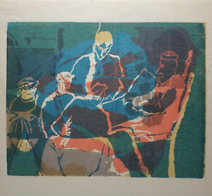 Mid-Century-Abstract-Silkscreen-Signed-Roach-Wall-Art-Playing-Cards-Vintage
