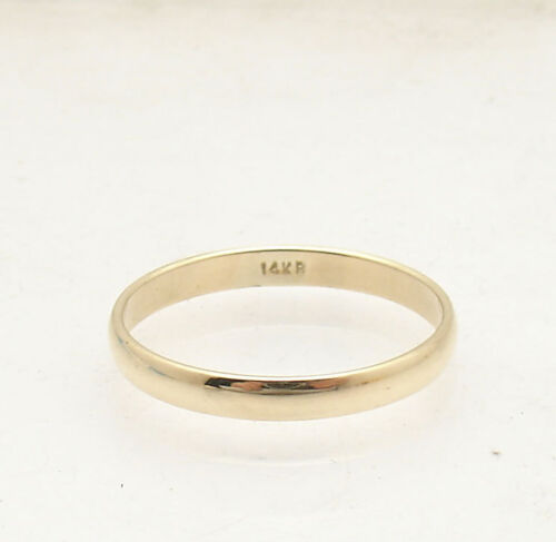 3mm Solid Domed All Shiny Plain Wedding Band Ring Real 14K Yellow Gold