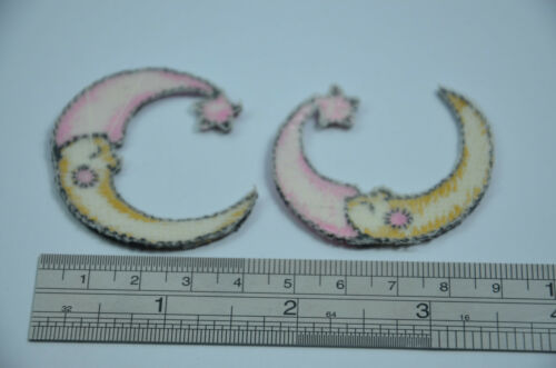 2pcs CRESCENT MOON PINK HAT 2/' 5cm  SEW IRON ON  PATCH BADGE EMBROIDERY APPLIQUE