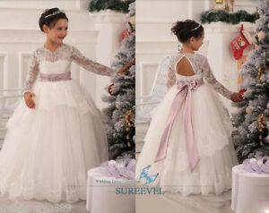 About long sleeve lace formal dance party christmas flower girl dress