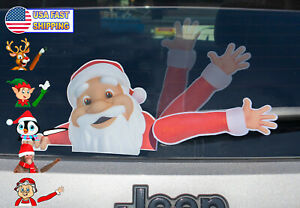 MIYSNEIRN Rear Window wiper Decal Christmas santa green leaves Waving Wiper Sticker 3D Funny Vinyl Car Rear Windshield Wiper Sticker Rear Wiper Vehicle Tags for Christmas Wiper Blade Decal