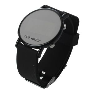 Silikon-LED-Armbanduhr-Damenuhr-Herrenuhr-Sport-Armband-Uhr-schwarzes-Uhrband