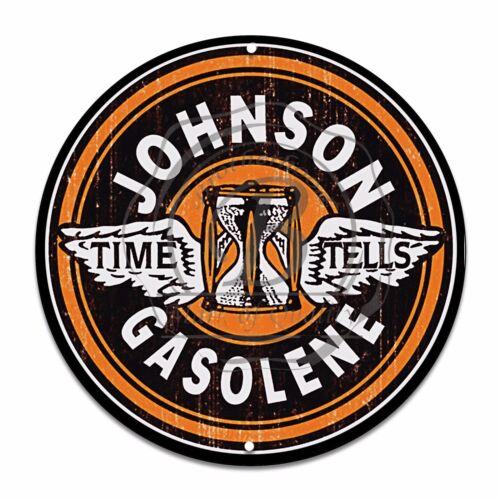 Vintage Design Sign Metal Decor Gas and Oil Sign Time Tells Johnson Gasolene
