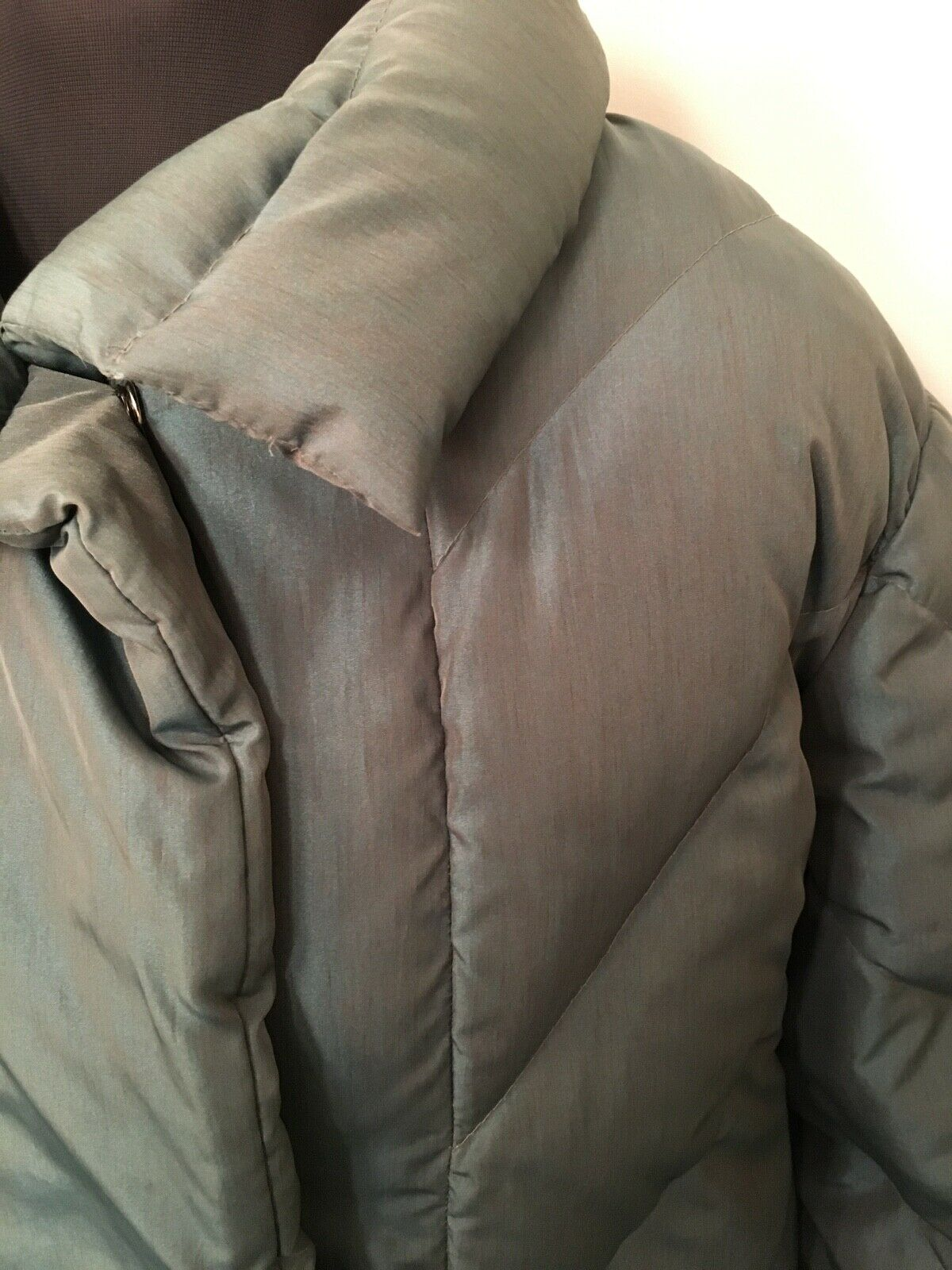 Vintage Bill Blass Quilted Down Puffer Coat Steel… - image 3