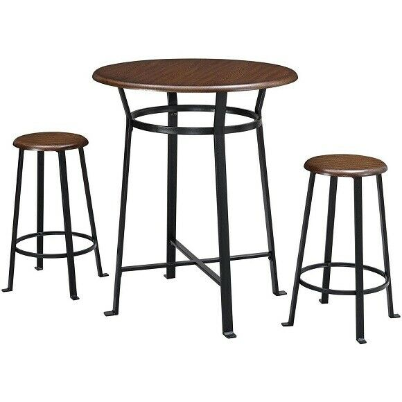 3 Piece Metal Pub Set Bar Wood Round Table Height Chairs Stool Kitchen