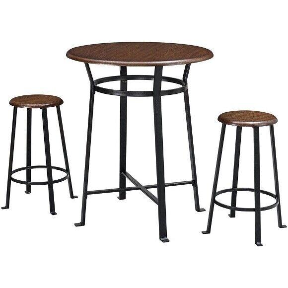 Wondrous 3 Piece Metal Pub Set Bar Wood Round Table Height Chairs Stool Kitchen Ibusinesslaw Wood Chair Design Ideas Ibusinesslaworg