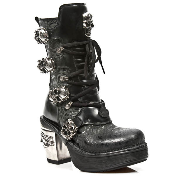 NEWROCK M.8366 S1 Black - New Rock Punk Gothic Biker Boots Flower Print - Womens