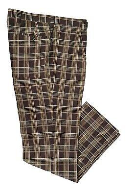 mens Inserch Blue plaid linen pants with single pleat