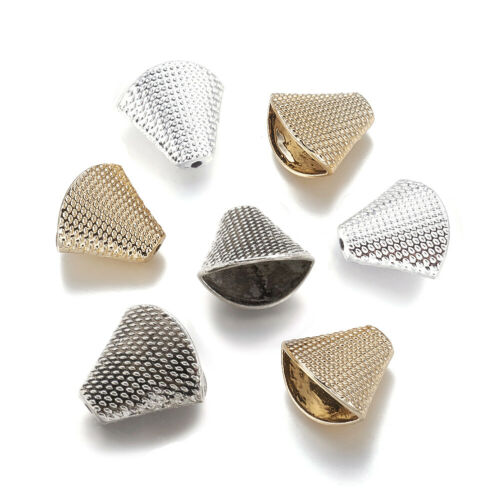 10x Alloy Trapezoid Bead Caps Bumpy Textured Tassel Charm Glue-in Cone Ends 20mm
