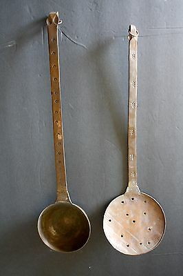 Set of 2 Vintage Copper Ladle Spoon Strainer Skimmer Hammered Rustic Primitive