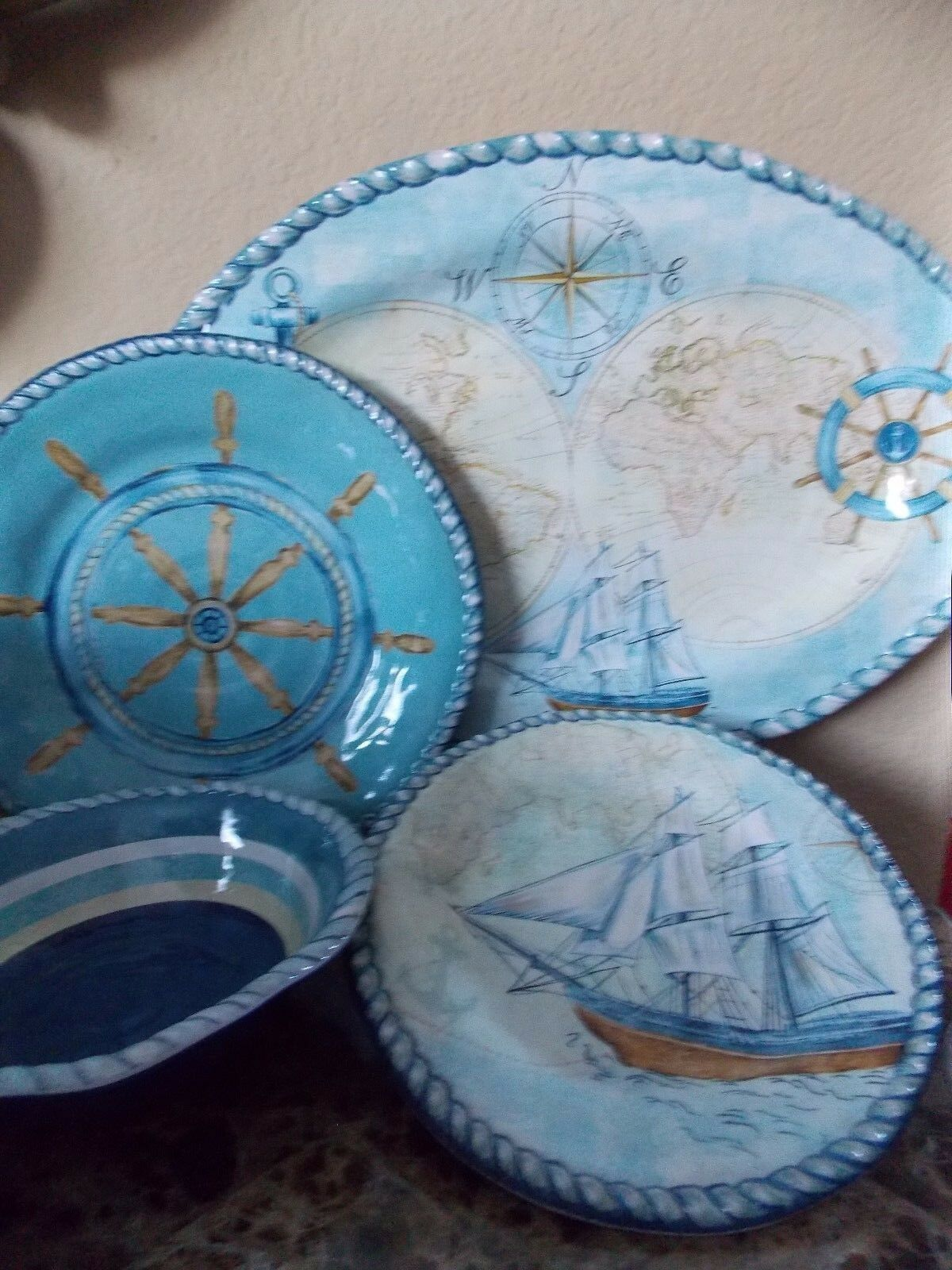 NEW NAUTICAL SAILBOATS ANCHOR 13 PIECE SET MELAMINE DINNER SALAD PLATES PLATTER