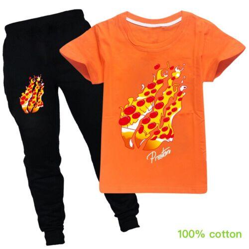Flame Prestonplayz Pizza Kids T-shirt Outfits Tee Tops+Joggers Pants 2pcs Sets