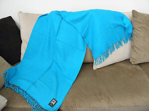 Brand-New-From-Peru-Soft-Alpaca-Fine-Blanket-Throw-70-x-54-Deep-Sky-Blue