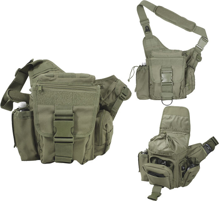 Olive Lightweight MOLLE Polyester Advanced Tactical Shoulder Bag redhco 2428