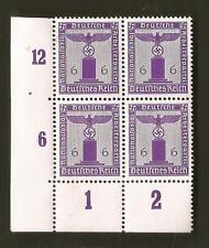 Nazi Germany Third 3rd Reich eagle swastika 6 pf Franchise stamp block PURPLE