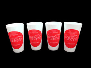 Coca-Cola-Red-Dot-Disc-Plastic-Tumblers-Delicious-and-Refreshing-Set-of-8