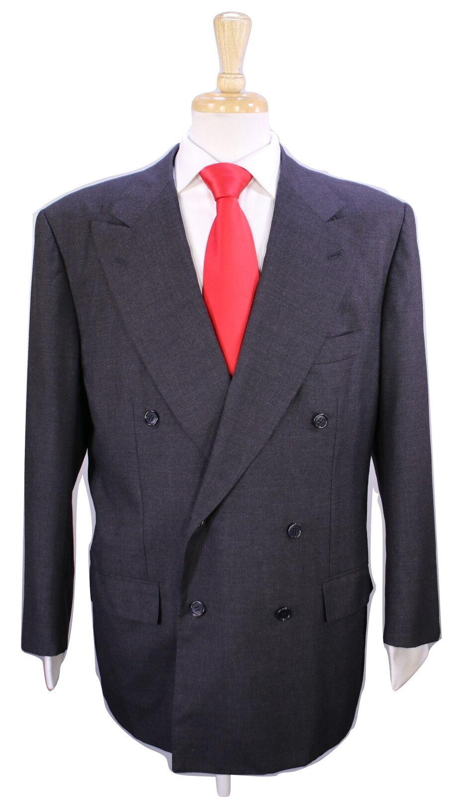 Kiton Handgefertigt Dunkel Holzkohle Schwarz 2-Btn Zweireihig Wool-Silk Anzug