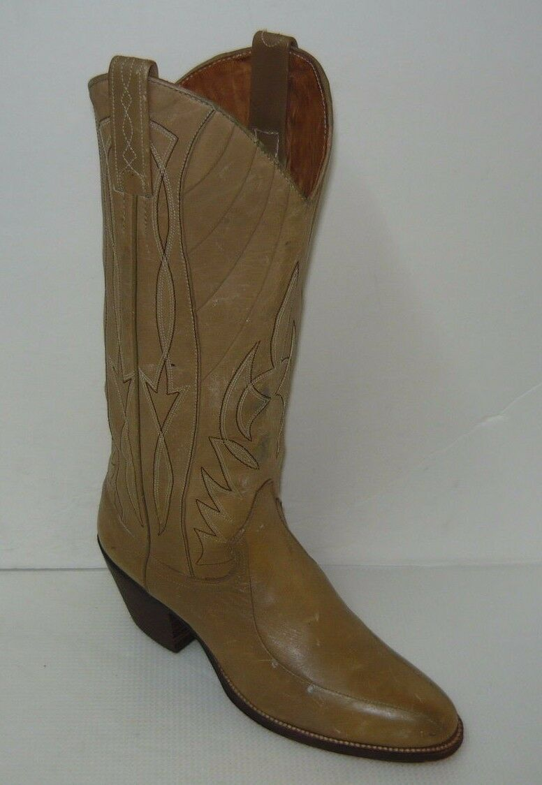 DAN POST Beige Leather Boots Western Cowboy Sz 5C