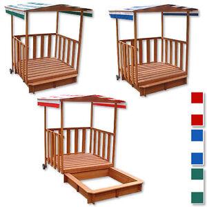 Sandkasten Spielhaus mit Spielveranda Sandbox Sandkiste Holz + Dach Deckel
