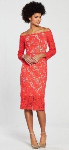 10 £ Rrp Yasmin Uk Bardot Dress Bnwt Coast Lace 129 Rosso z0xUqA4