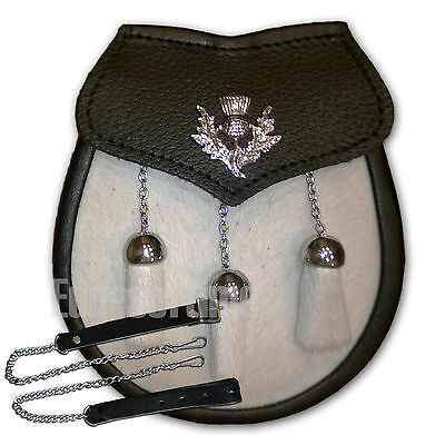 GENUINE REAL LEATHER & FUR SCOTTISH KILT SPORRAN WITH THISTLE MOTIF & CHAIN BELT