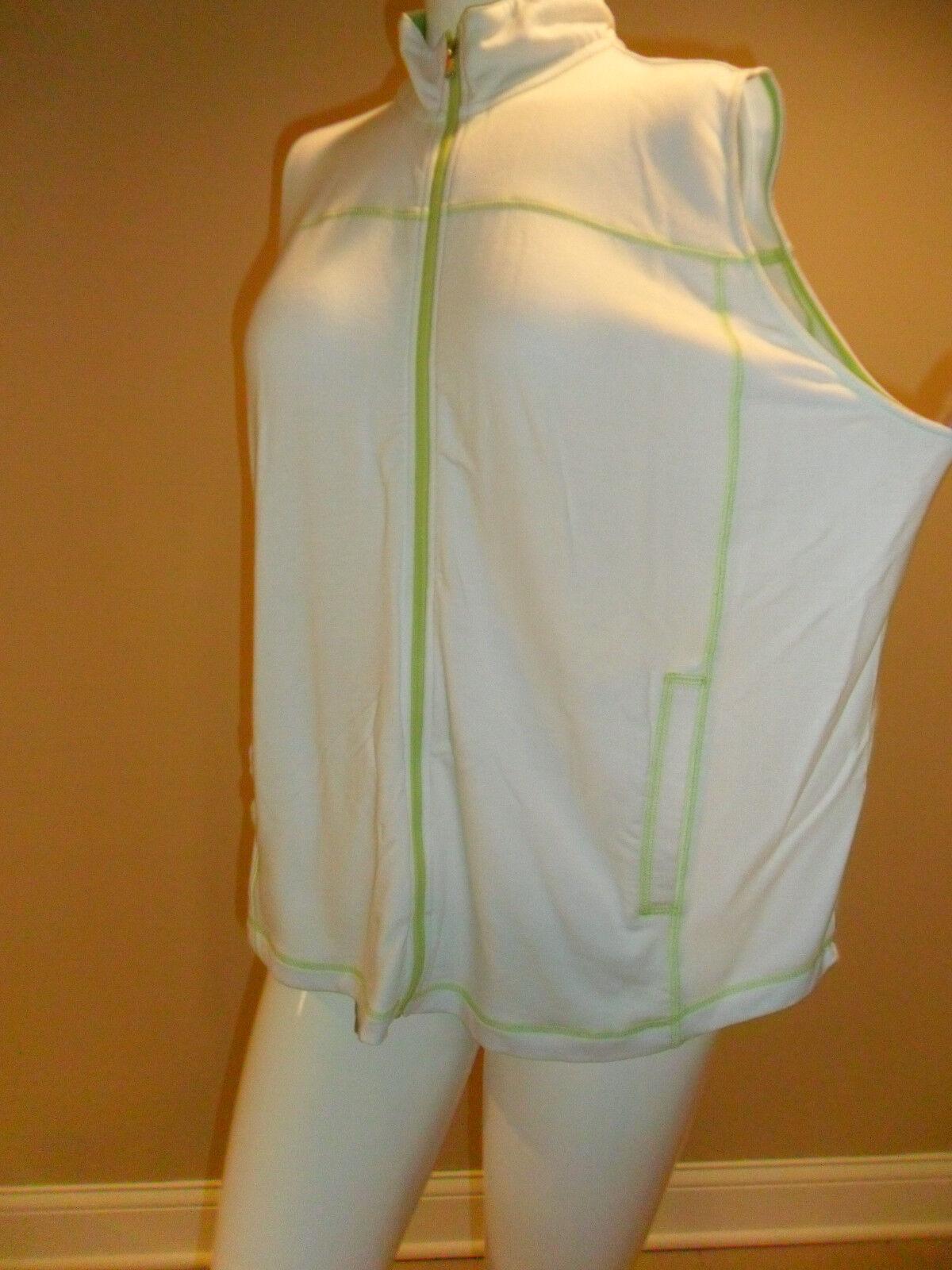 Chaps women's plus Solid Solid Solid  Zip up Vest White Contrasting neon trim Size 2X New wt 9d87a0