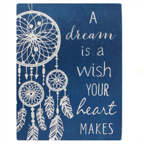 """/""""A Dream Is A Wish Your Heart Makes/"""" White Feather Dreamcatcher Sign Magnet"""
