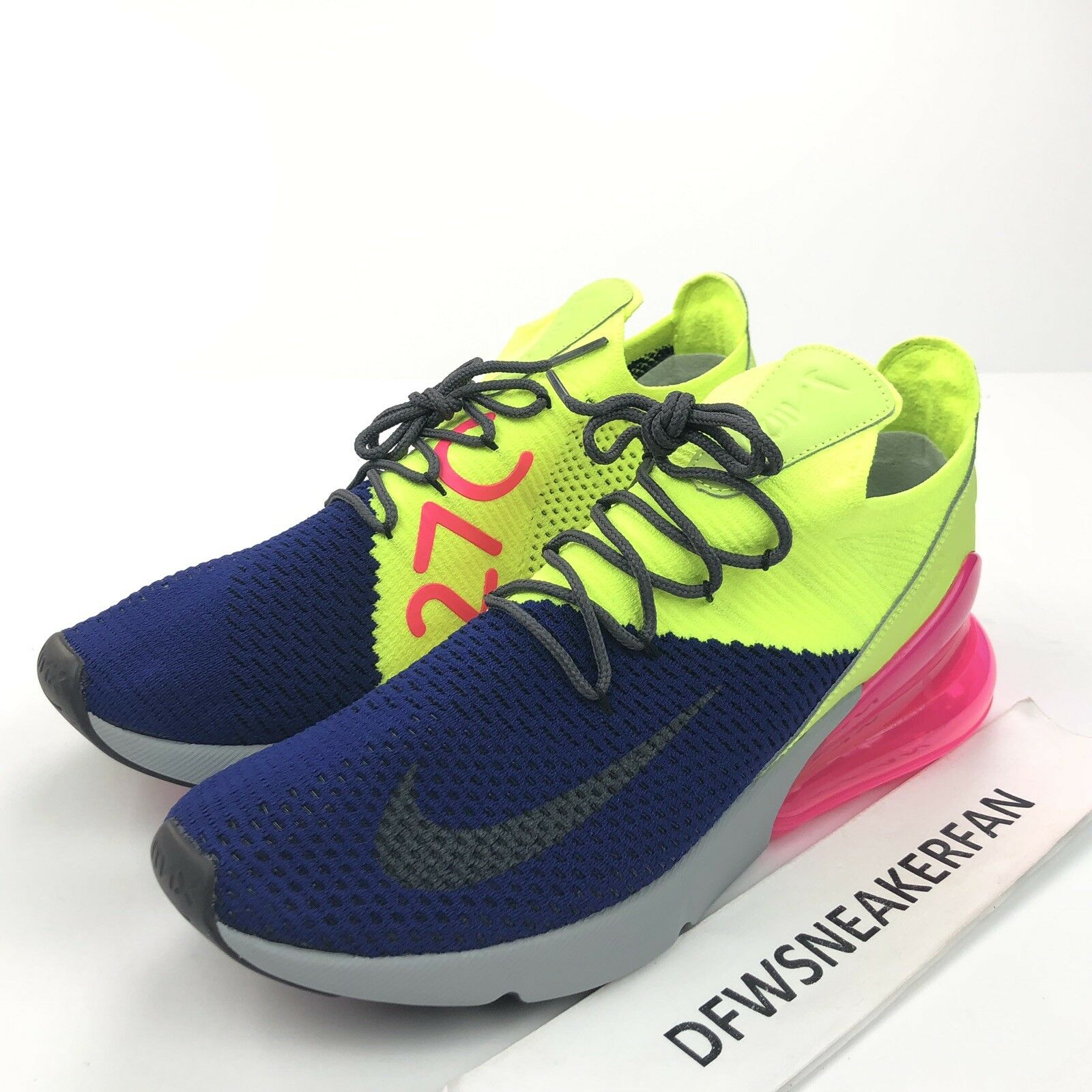 Nike Air Max 270 Men's 13 Flyknit Regency Purple Grey Volt AO1023-501 shoes DS