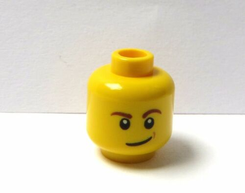 Lego 1 X  Yellow Head  For Man Male Minifigure Figure Side Grin Smirk